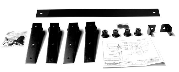 """Series 105 Flat Track Kit with Traditional Quiet Wheel Hangers for Bi-Parting Doors for 3' – 0"""" Opening – Powder Coated"""