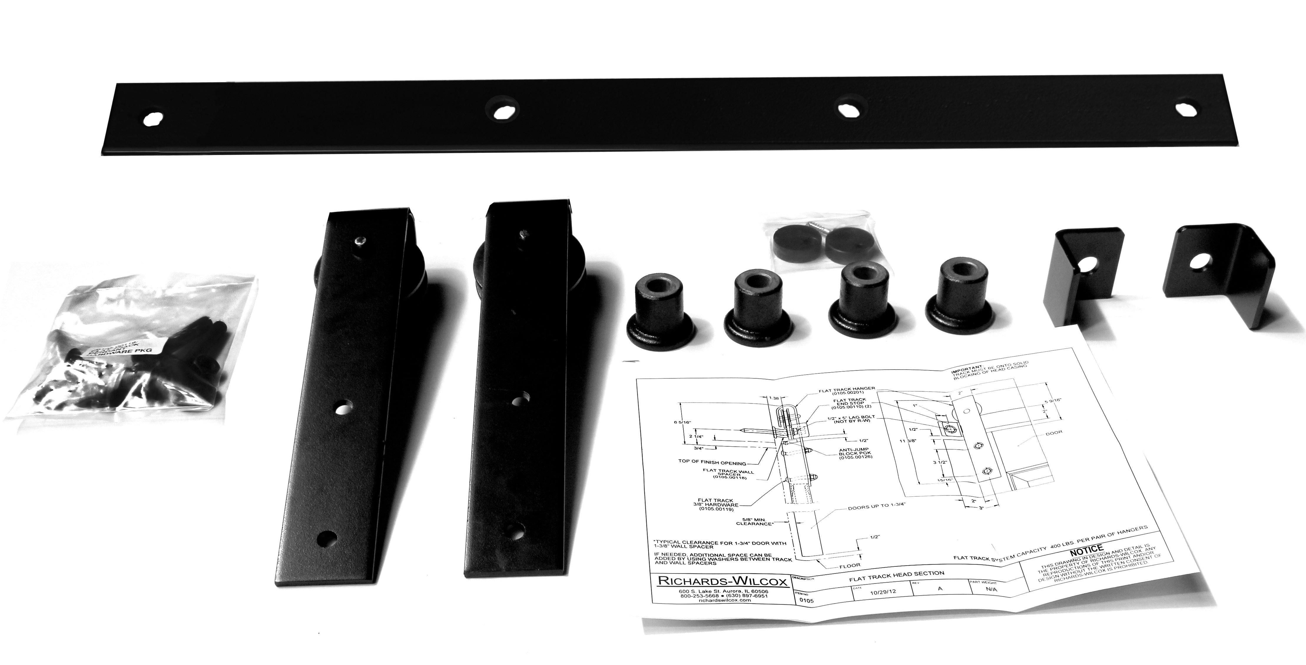 """Series 105 Flat Track Kit with Traditional Quiet Wheel Hangers for Single Door for 6' – 0"""" Opening -Powder Coated"""
