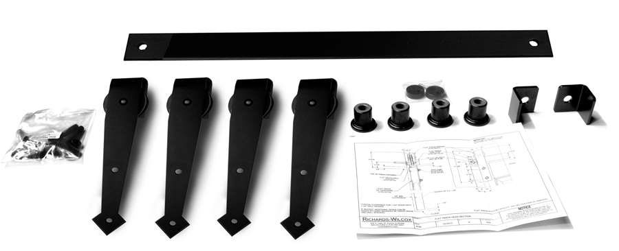 "Series 105 Flat Track Kit with Arrowhead Quiet Wheel Hangers for Bi-Parting Doors for 3' – 0"" Opening -Powder Coated"