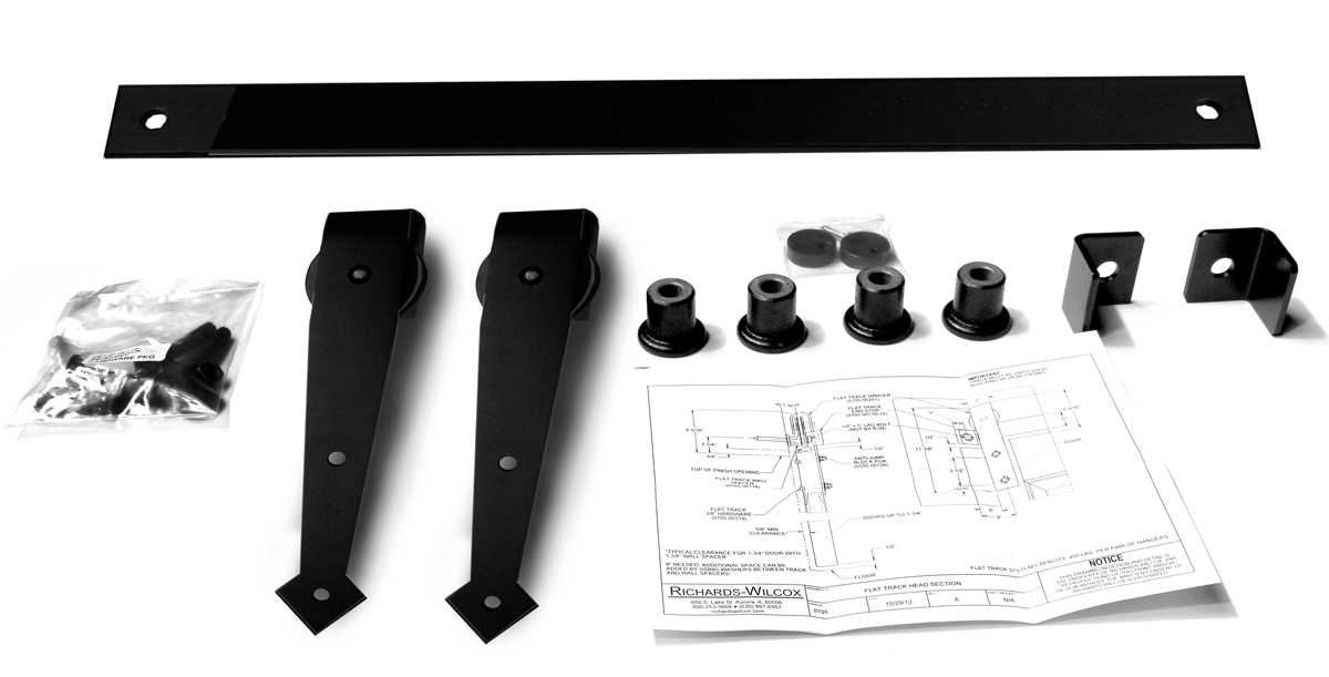 """Series 105 Flat Track Kit with Arrowhead Quiet Wheel Hangers for Single Door for 5' – 0"""" Opening -Powder Coated"""