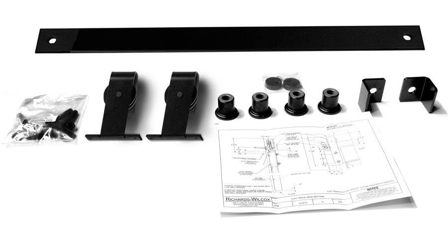 """Series 105 Flat Track Kit with  Top Mount Quiet Wheel Hangers for Single Door for 5' – 0"""" Opening -Powder Coated"""