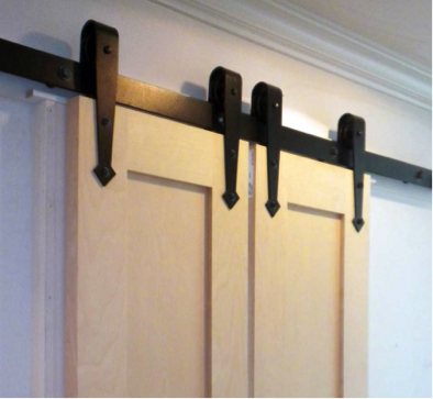 Arrowhead Hangers on Bi-Parting Flat Track Sliding System