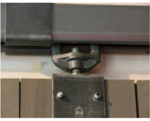 Close-up of Hanger Hardware in Track