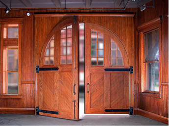 Interior View of Swinging Door with Strap Hinges