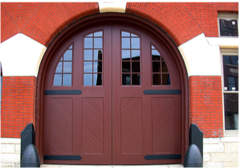 Exterior view with back plates that mimic the look of hinges.